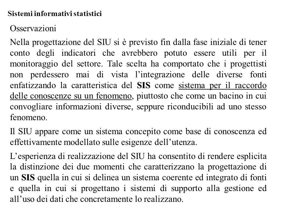Sistemi informativi statistici Osservazioni SIS Nella progettazione del SIU si è previsto fin dalla fase iniziale di tener conto degli indicatori che avrebbero potuto essere utili per il monitoraggio del settore.