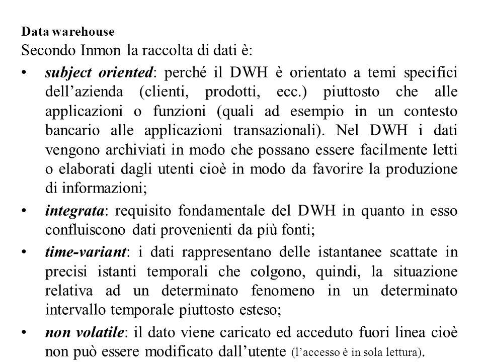 Secondo Inmon la raccolta di dati è: subject oriented: perché il DWH è orientato a temi specifici dell'azienda (clienti, prodotti, ecc.) piuttosto che alle applicazioni o funzioni (quali ad esempio in un contesto bancario alle applicazioni transazionali).