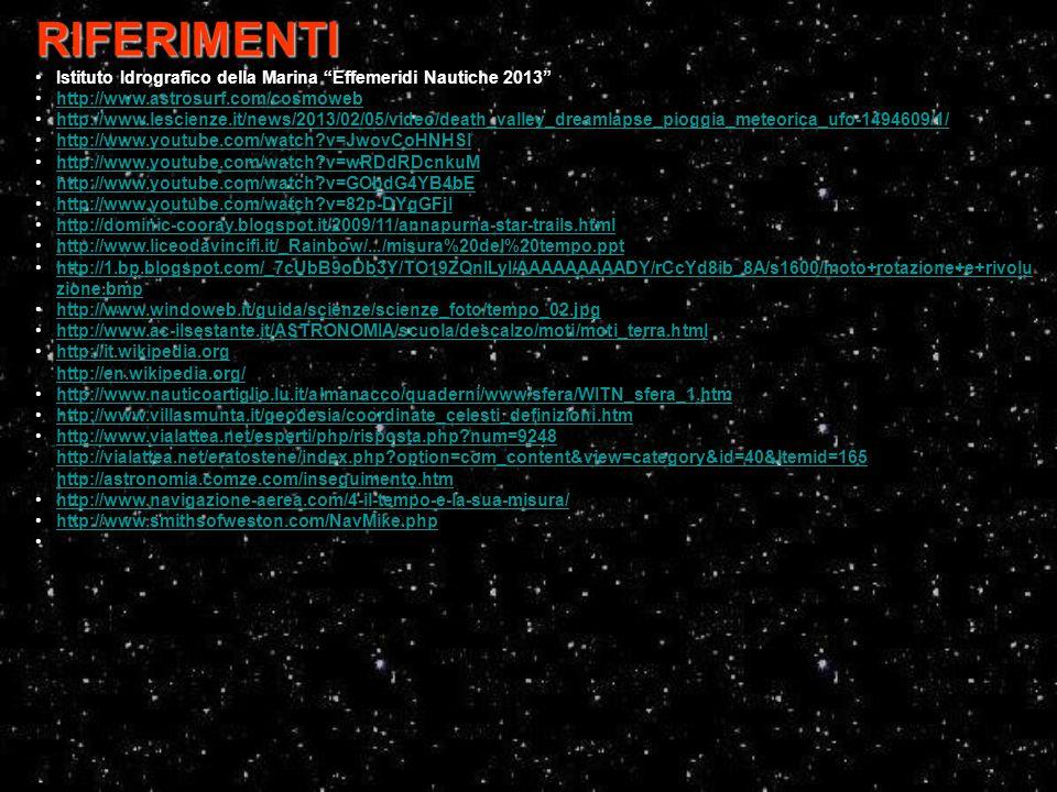 """RIFERIMENTI Istituto Idrografico della Marina """"Effemeridi Nautiche 2013"""" http://www.astrosurf.com/cosmoweb http://www.lescienze.it/news/2013/02/05/vid"""