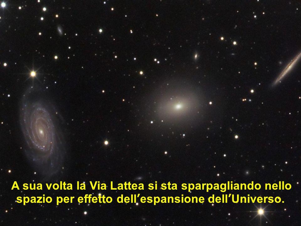 A sua volta la Via Lattea si sta sparpagliando nello spazio per effetto dell'espansione dell'Universo.