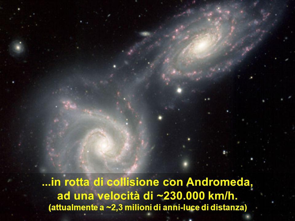 ...in rotta di collisione con Andromeda, ad una velocità di ~230.000 km/h. (attualmente a ~2,3 milioni di anni-luce di distanza)