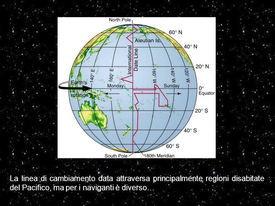 La linea di cambiamento data attraversa principalmente regioni disabitate del Pacifico, ma per i naviganti è diverso…