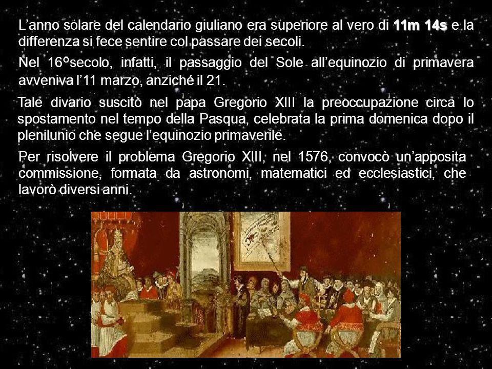 11m 14s L'anno solare del calendario giuliano era superiore al vero di 11m 14s e la differenza si fece sentire col passare dei secoli. Nel 16°secolo,