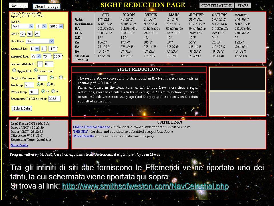 Tra gli infiniti di siti che forniscono le Effemeridi ve ne riportato uno dei tanti, la cui schermata viene riportata qui sopra. http://www.smithsofwe