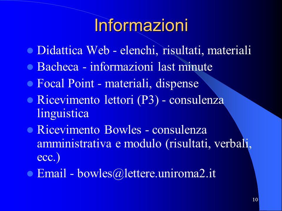 10 Informazioni Didattica Web - elenchi, risultati, materiali Bacheca - informazioni last minute Focal Point - materiali, dispense Ricevimento lettori