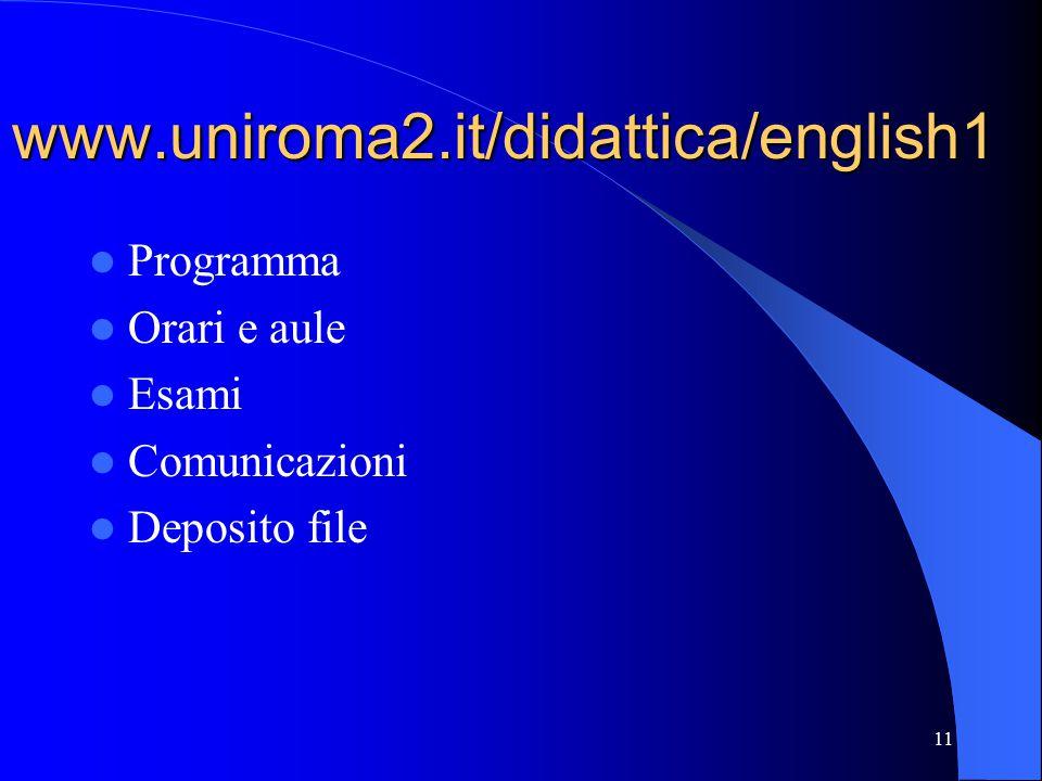 11 www.uniroma2.it/didattica/english1 Programma Orari e aule Esami Comunicazioni Deposito file