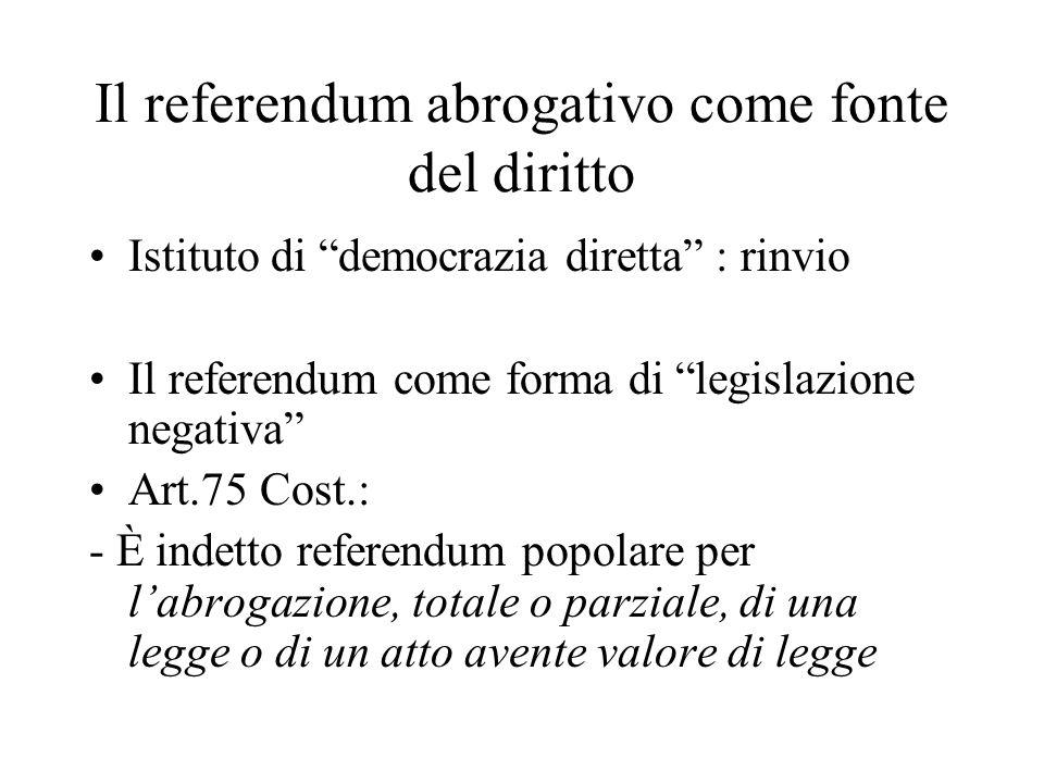 Il referendum abrogativo come fonte del diritto Istituto di democrazia diretta : rinvio Il referendum come forma di legislazione negativa Art.75 Cost.: - È indetto referendum popolare per l'abrogazione, totale o parziale, di una legge o di un atto avente valore di legge