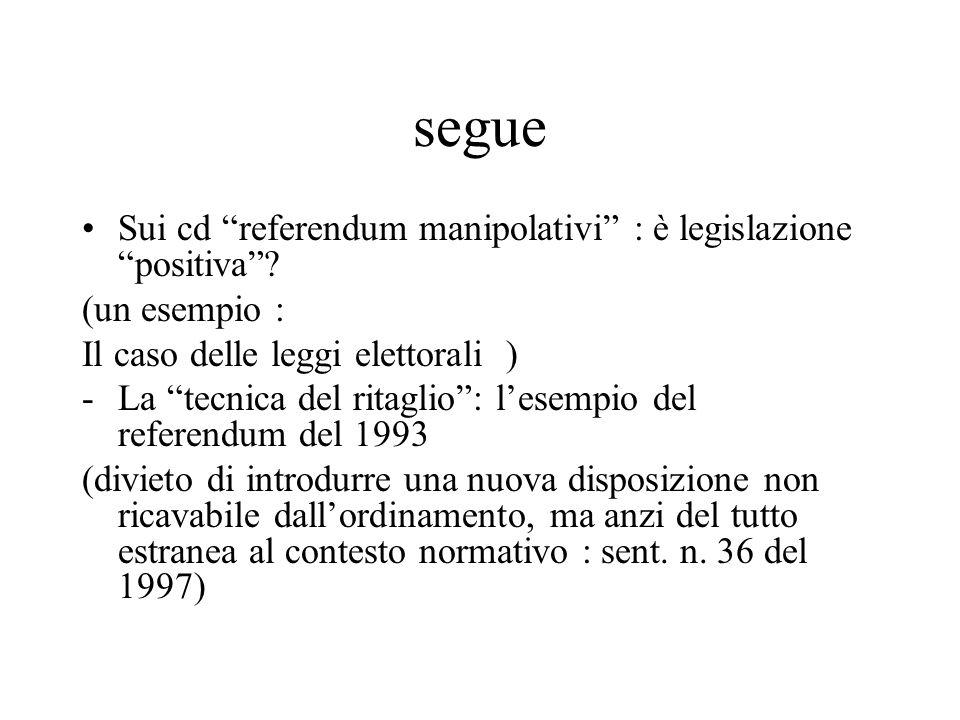 segue Sui cd referendum manipolativi : è legislazione positiva .