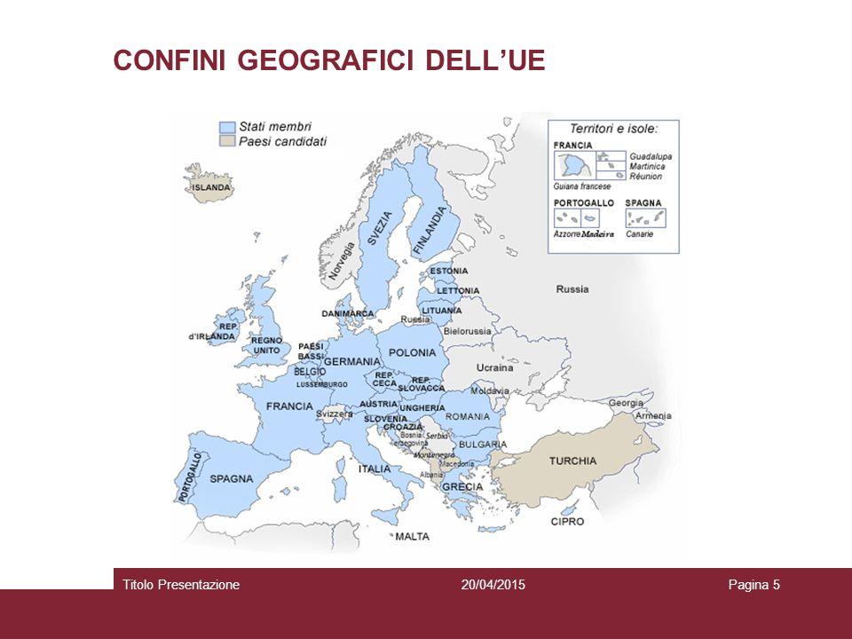20/04/2015Titolo PresentazionePagina 6 IL PROCESSO DI INTEGRAZIONE EUROPEA TAPPE PRINCIPALI 1951(f)  1952(v) – Trattato istitutivo CECA 1957(f)  1958(v)- Trattati istitutivi CEE e CEEA 1965 (f-v) – Tratt.