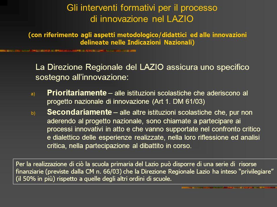 Gli interventi formativi per il processo di innovazione nel LAZIO La Direzione Regionale del LAZIO assicura uno specifico sostegno all'innovazione: a)