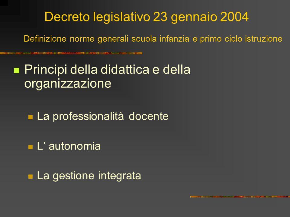 Decreto legislativo 23 gennaio 2004 Principi della didattica e della organizzazione La professionalità docente L' autonomia La gestione integrata Defi