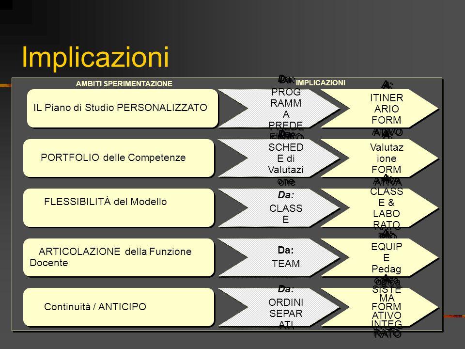Implicazioni IL Piano di Studio PERSONALIZZATO IL PORTFOLIO delle Competenze La FLESSIBILITÀ del Modello Organizzativo L' ARTICOLAZIONE della Funzione
