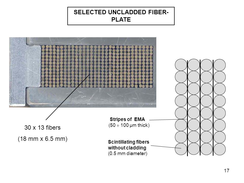 17 Scintillating fibers without cladding (0.5 mm diameter) Stripes of EMA (50  100 µm thick) SELECTED UNCLADDED FIBER- PLATE 30 x 13 fibers (18 mm x