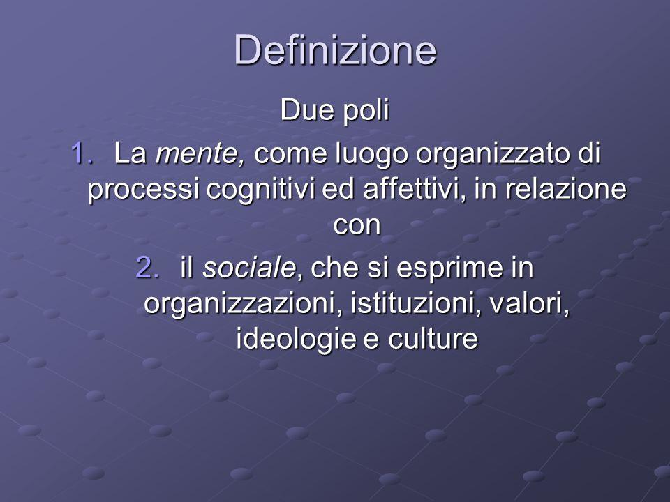 Definizione Due poli 1.La mente, come luogo organizzato di processi cognitivi ed affettivi, in relazione con 2.il sociale, che si esprime in organizzazioni, istituzioni, valori, ideologie e culture