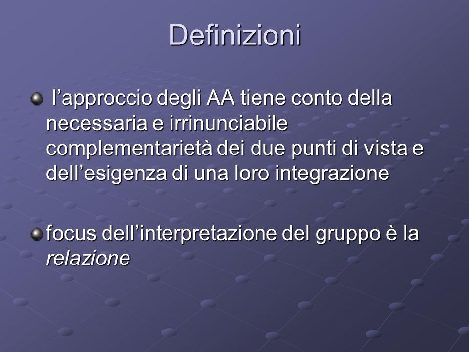 Definizioni l'approccio degli AA tiene conto della necessaria e irrinunciabile complementarietà dei due punti di vista e dell'esigenza di una loro integrazione l'approccio degli AA tiene conto della necessaria e irrinunciabile complementarietà dei due punti di vista e dell'esigenza di una loro integrazione focus dell'interpretazione del gruppo è la relazione