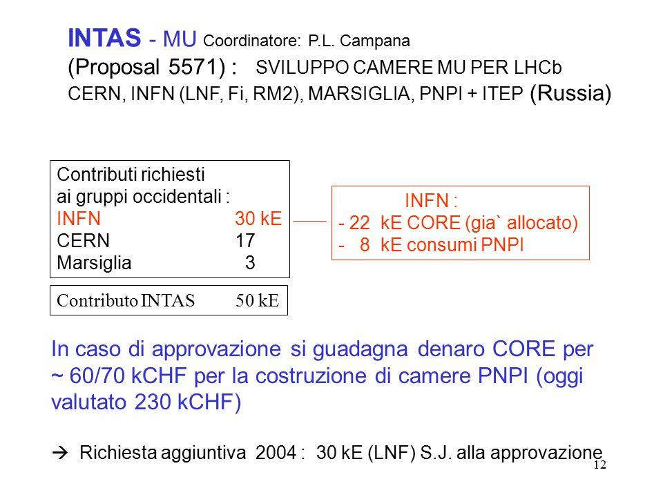 12 INTAS - MU Coordinatore: P.L.