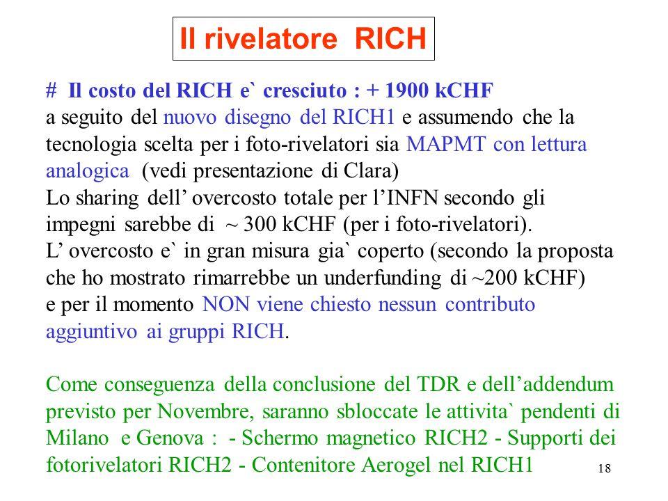 18 Il rivelatore RICH # Il costo del RICH e` cresciuto : + 1900 kCHF a seguito del nuovo disegno del RICH1 e assumendo che la tecnologia scelta per i foto-rivelatori sia MAPMT con lettura analogica (vedi presentazione di Clara) Lo sharing dell' overcosto totale per l'INFN secondo gli impegni sarebbe di ~ 300 kCHF (per i foto-rivelatori).