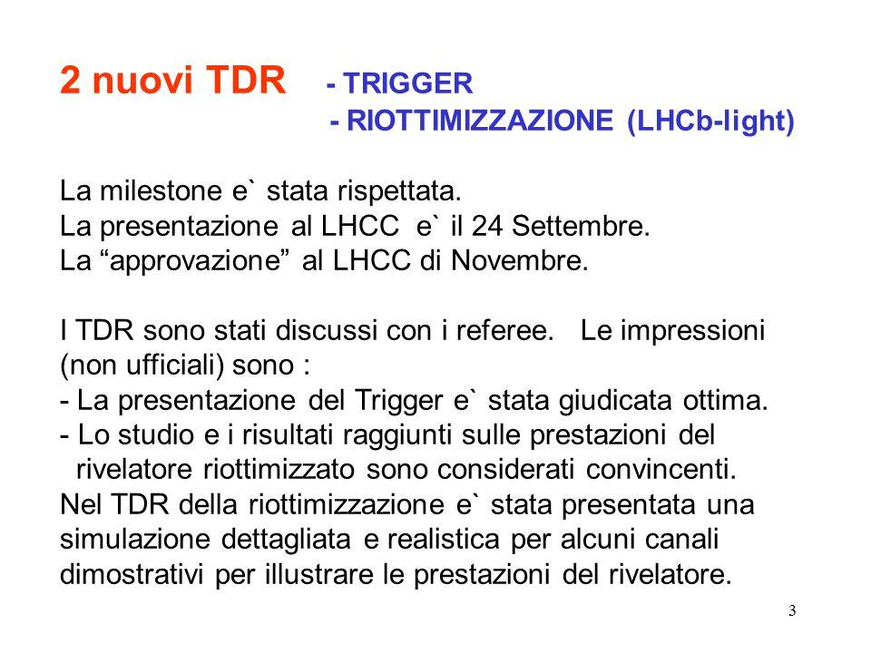 3 2 nuovi TDR - TRIGGER - RIOTTIMIZZAZIONE (LHCb-light) La milestone e` stata rispettata.