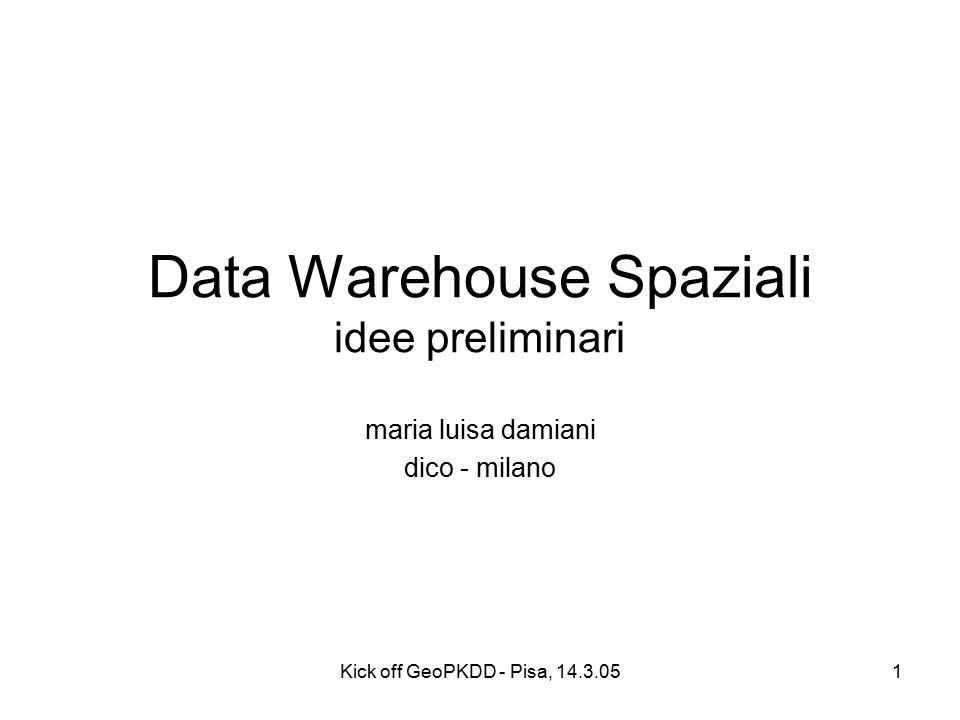 Kick off GeoPKDD - Pisa, 14.3.051 Data Warehouse Spaziali idee preliminari maria luisa damiani dico - milano