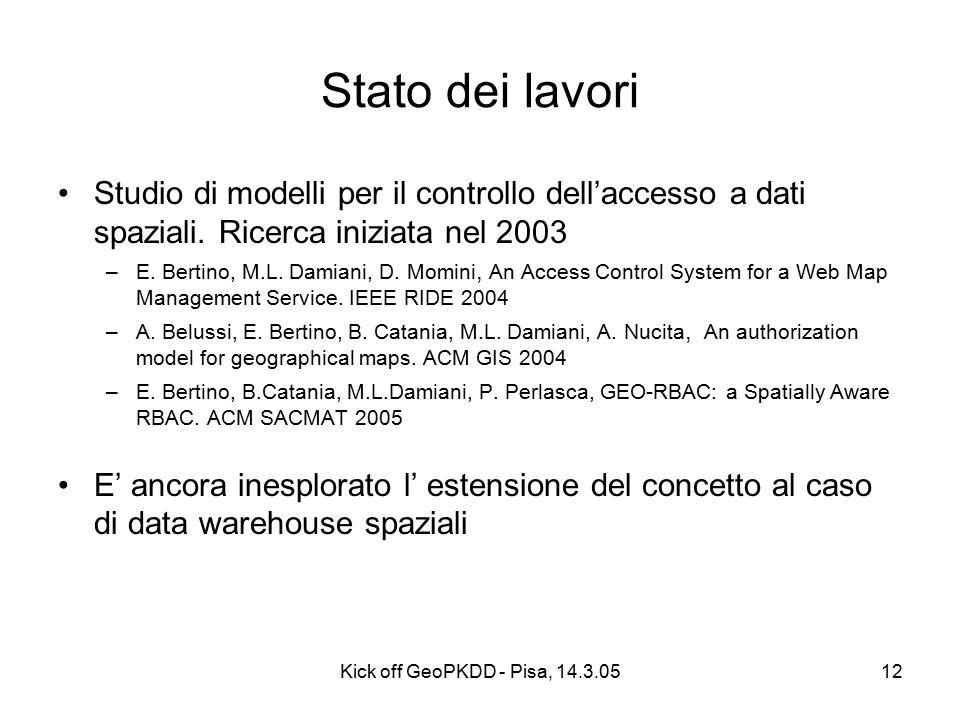 Kick off GeoPKDD - Pisa, 14.3.0512 Stato dei lavori Studio di modelli per il controllo dell'accesso a dati spaziali.