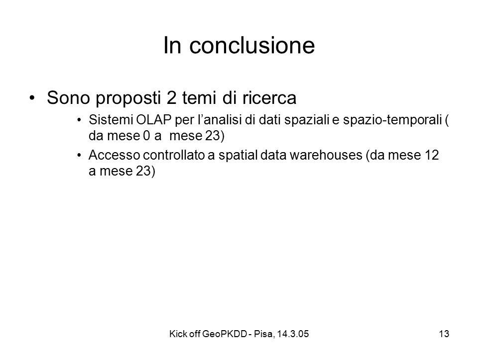 Kick off GeoPKDD - Pisa, 14.3.0513 In conclusione Sono proposti 2 temi di ricerca Sistemi OLAP per l'analisi di dati spaziali e spazio-temporali ( da mese 0 a mese 23) Accesso controllato a spatial data warehouses (da mese 12 a mese 23)