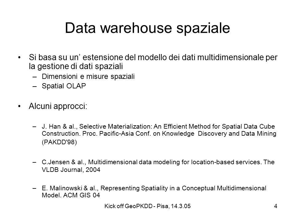 Kick off GeoPKDD - Pisa, 14.3.054 Data warehouse spaziale Si basa su un' estensione del modello dei dati multidimensionale per la gestione di dati spaziali –Dimensioni e misure spaziali –Spatial OLAP Alcuni approcci: –J.
