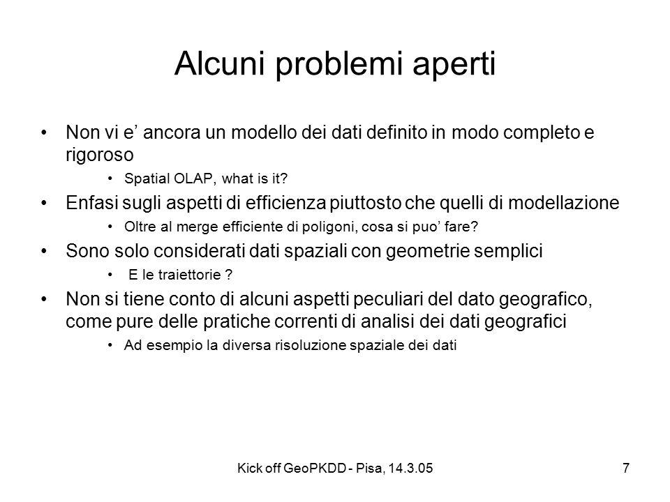 Kick off GeoPKDD - Pisa, 14.3.057 Alcuni problemi aperti Non vi e' ancora un modello dei dati definito in modo completo e rigoroso Spatial OLAP, what is it.