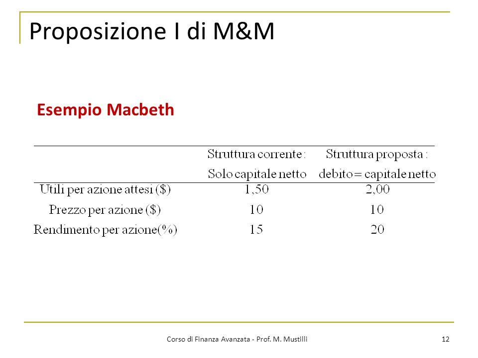12 Proposizione I di M&M Corso di Finanza Avanzata - Prof. M. Mustilli Esempio Macbeth
