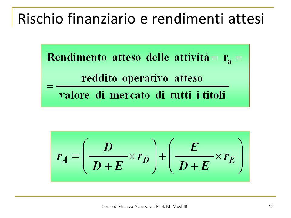 Rischio finanziario e rendimenti attesi 13 Corso di Finanza Avanzata - Prof. M. Mustilli