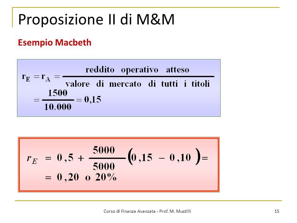 15 Proposizione II di M&M Corso di Finanza Avanzata - Prof. M. Mustilli Esempio Macbeth