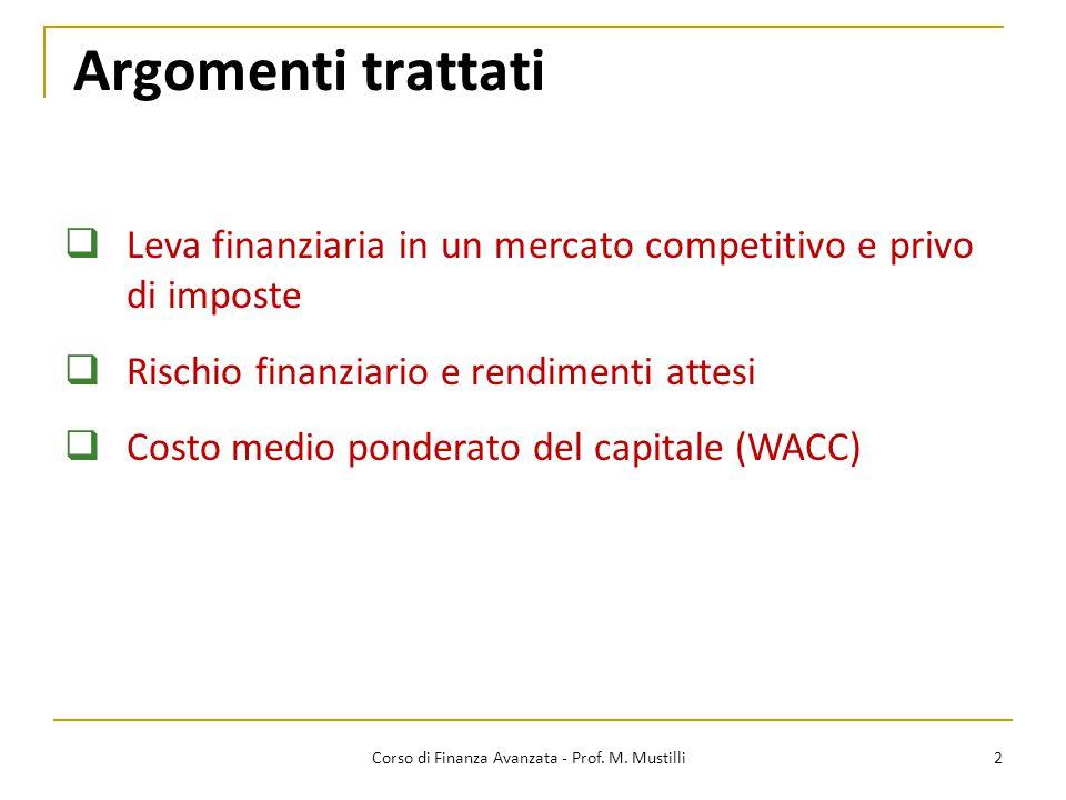 Argomenti trattati 2  Leva finanziaria in un mercato competitivo e privo di imposte  Rischio finanziario e rendimenti attesi  Costo medio ponderato