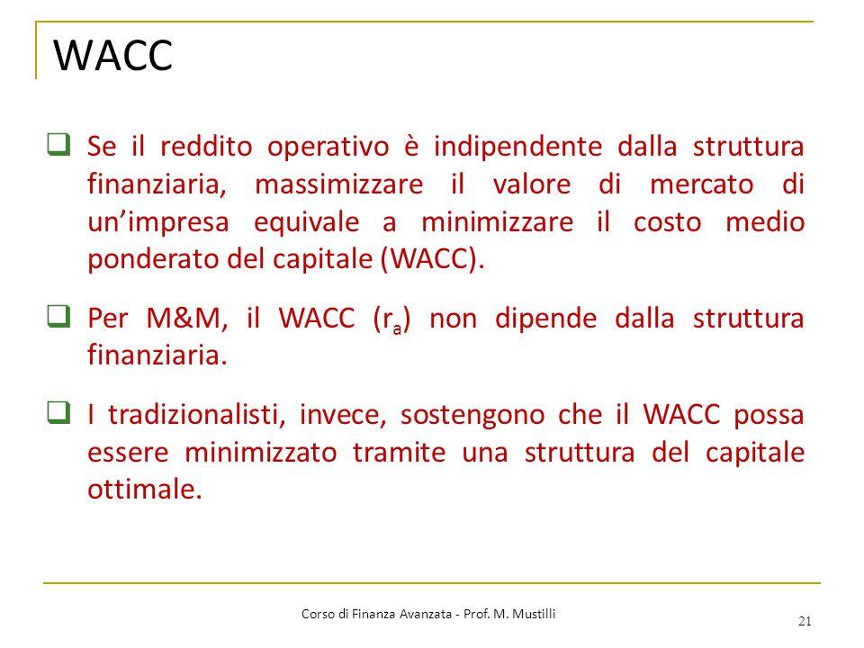 WACC 21 Corso di Finanza Avanzata - Prof. M. Mustilli  Se il reddito operativo è indipendente dalla struttura finanziaria, massimizzare il valore di
