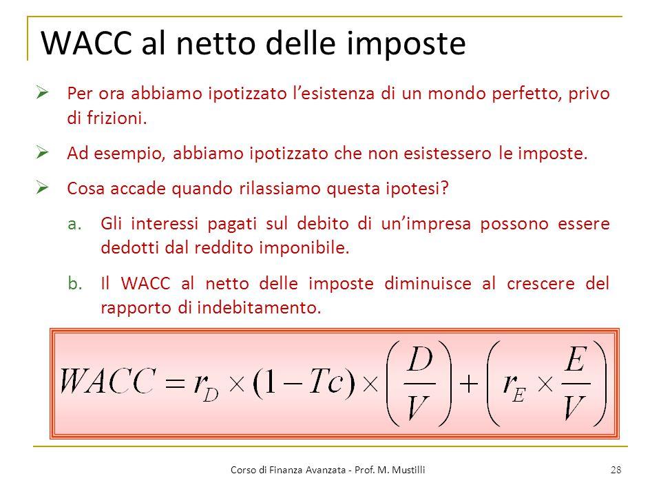 28 WACC al netto delle imposte Corso di Finanza Avanzata - Prof. M. Mustilli  Per ora abbiamo ipotizzato l'esistenza di un mondo perfetto, privo di f