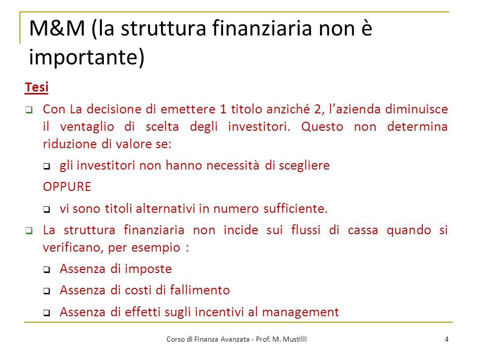 4 Corso di Finanza Avanzata - Prof. M. Mustilli Tesi  Con La decisione di emettere 1 titolo anziché 2, l'azienda diminuisce il ventaglio di scelta de