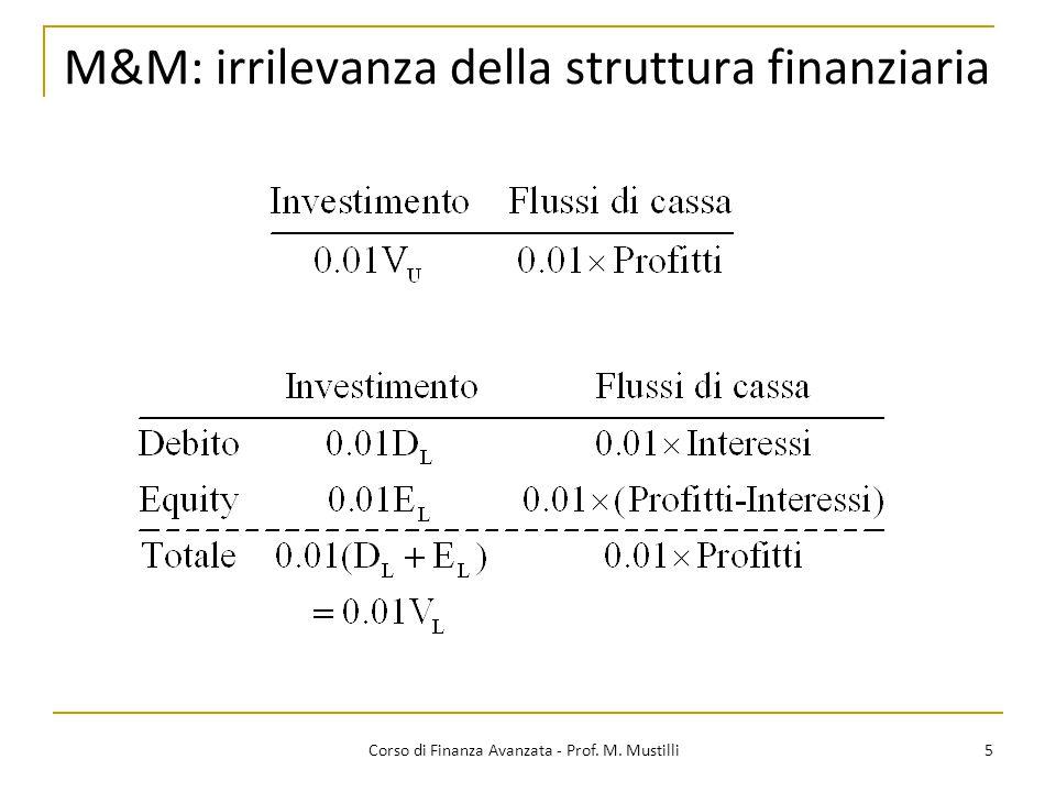 M&M: irrilevanza della struttura finanziaria 5 Corso di Finanza Avanzata - Prof. M. Mustilli