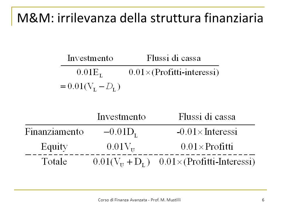 M&M: irrilevanza della struttura finanziaria 6 Corso di Finanza Avanzata - Prof. M. Mustilli
