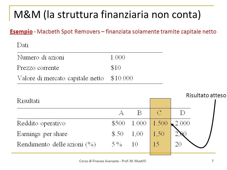 M&M (la struttura finanziaria non conta) 7 Corso di Finanza Avanzata - Prof. M. Mustilli Esempio - Macbeth Spot Removers – finanziata solamente tramit