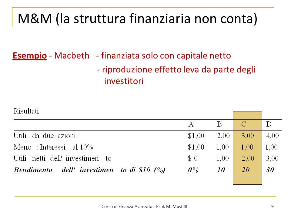 M&M (la struttura finanziaria non conta) 9 Corso di Finanza Avanzata - Prof. M. Mustilli Esempio - Macbeth - finanziata solo con capitale netto - ripr