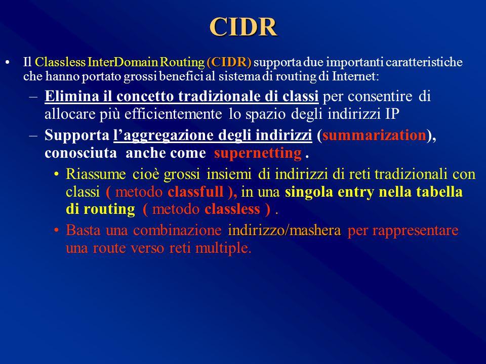 CIDR (CIDR)Il Classless InterDomain Routing (CIDR) supporta due importanti caratteristiche che hanno portato grossi benefici al sistema di routing di Internet: –Elimina il concetto tradizionale di classi per consentire di allocare più efficientemente lo spazio degli indirizzi IP –Supporta l'aggregazione degli indirizzi (summarization), conosciuta anche come supernetting.