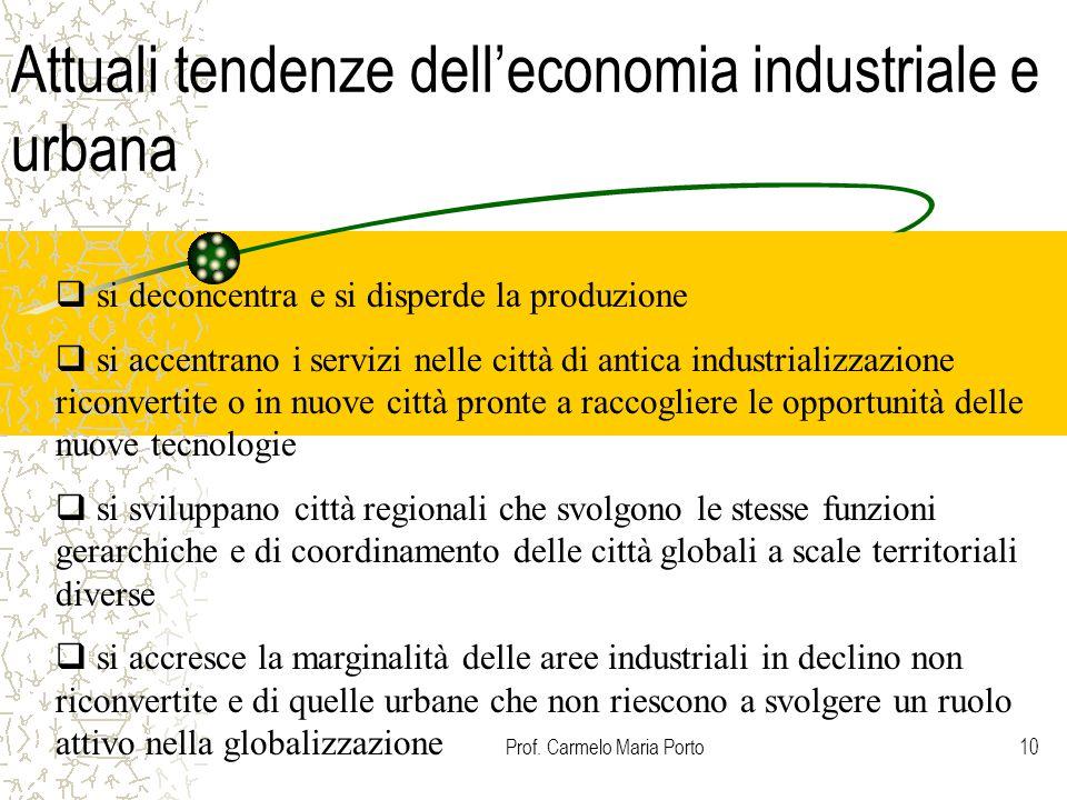 Prof. Carmelo Maria Porto10 Attuali tendenze dell'economia industriale e urbana  si deconcentra e si disperde la produzione  si accentrano i servizi