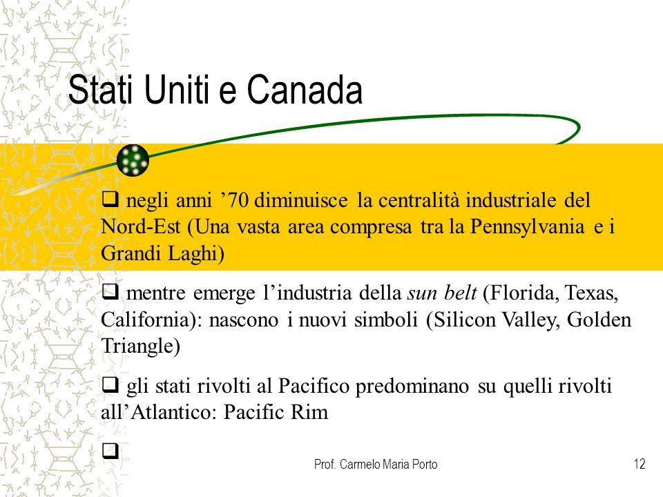 Prof. Carmelo Maria Porto12 Stati Uniti e Canada  negli anni '70 diminuisce la centralità industriale del Nord-Est (Una vasta area compresa tra la Pe