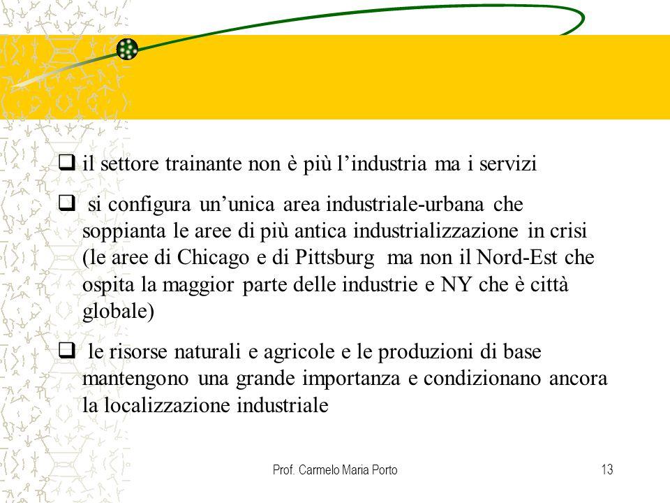 Prof. Carmelo Maria Porto13  il settore trainante non è più l'industria ma i servizi  si configura un'unica area industriale-urbana che soppianta le