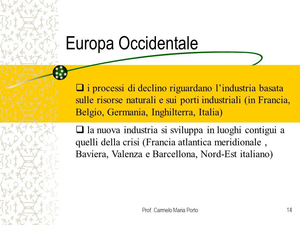 Prof. Carmelo Maria Porto14 Europa Occidentale  i processi di declino riguardano l'industria basata sulle risorse naturali e sui porti industriali (i