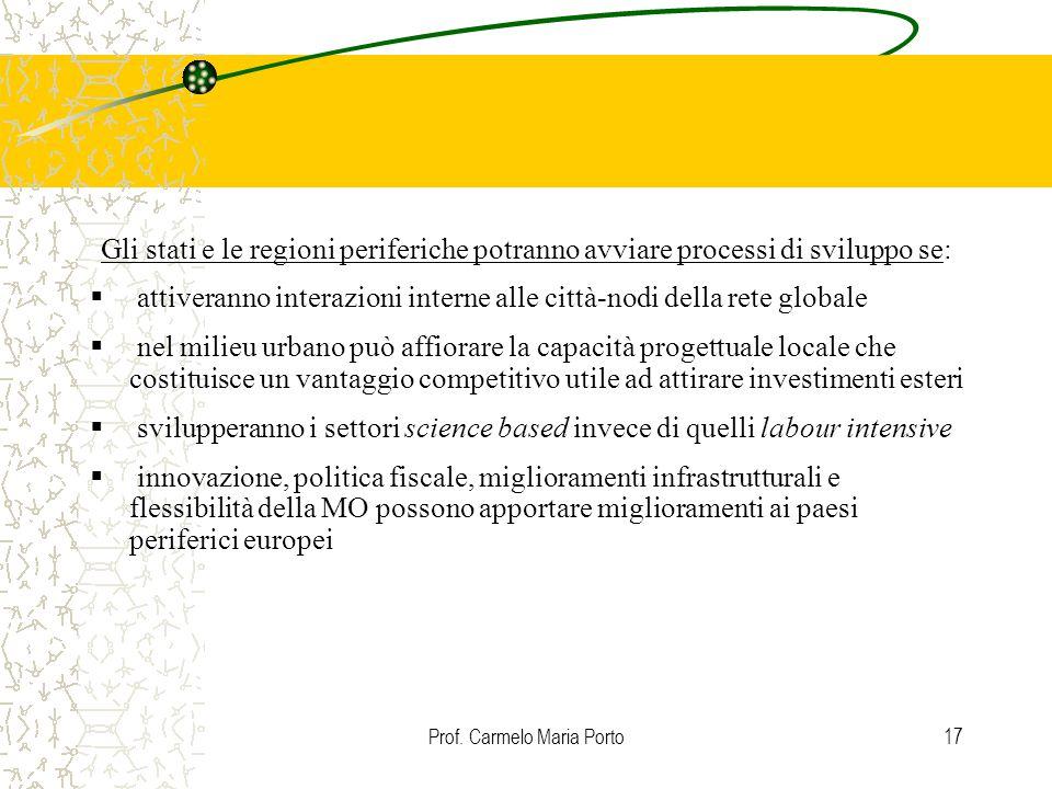 Prof. Carmelo Maria Porto17 Gli stati e le regioni periferiche potranno avviare processi di sviluppo se:  attiveranno interazioni interne alle città-