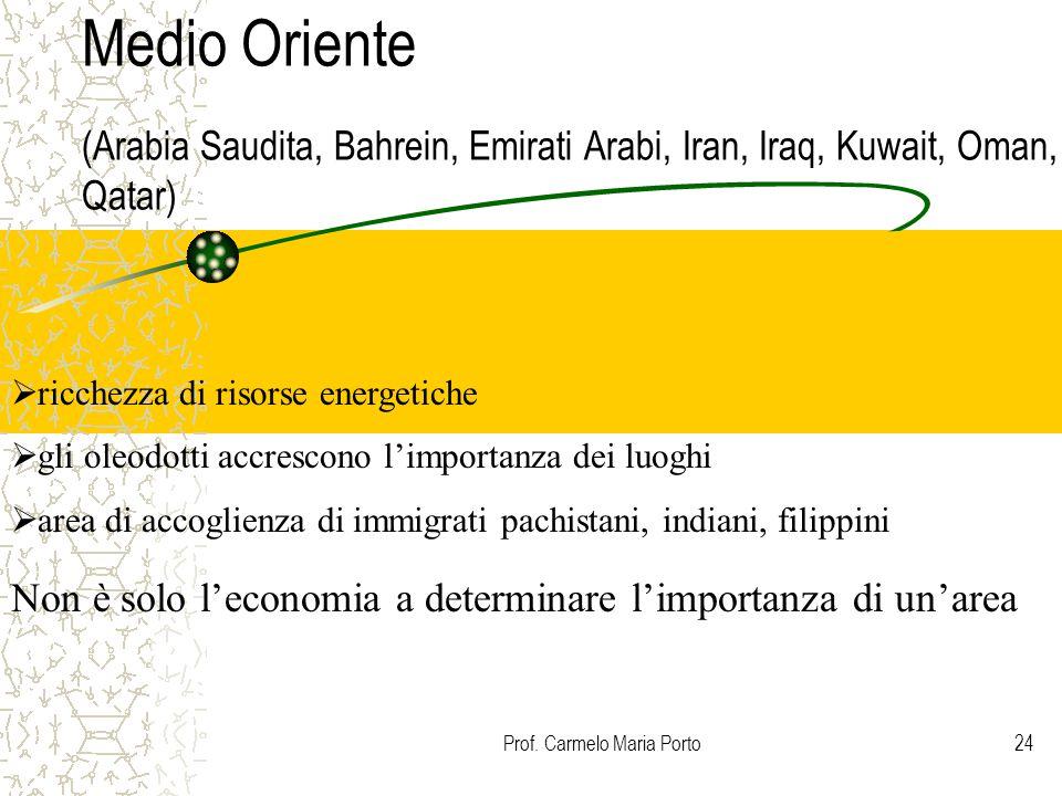 Prof. Carmelo Maria Porto24 Medio Oriente (Arabia Saudita, Bahrein, Emirati Arabi, Iran, Iraq, Kuwait, Oman, Qatar)  ricchezza di risorse energetiche