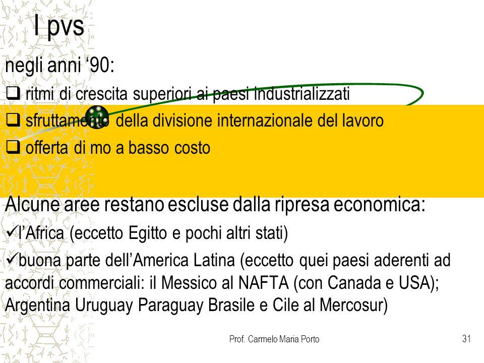 Prof. Carmelo Maria Porto31 I pvs negli anni '90:  ritmi di crescita superiori ai paesi industrializzati  sfruttamento della divisione internazional