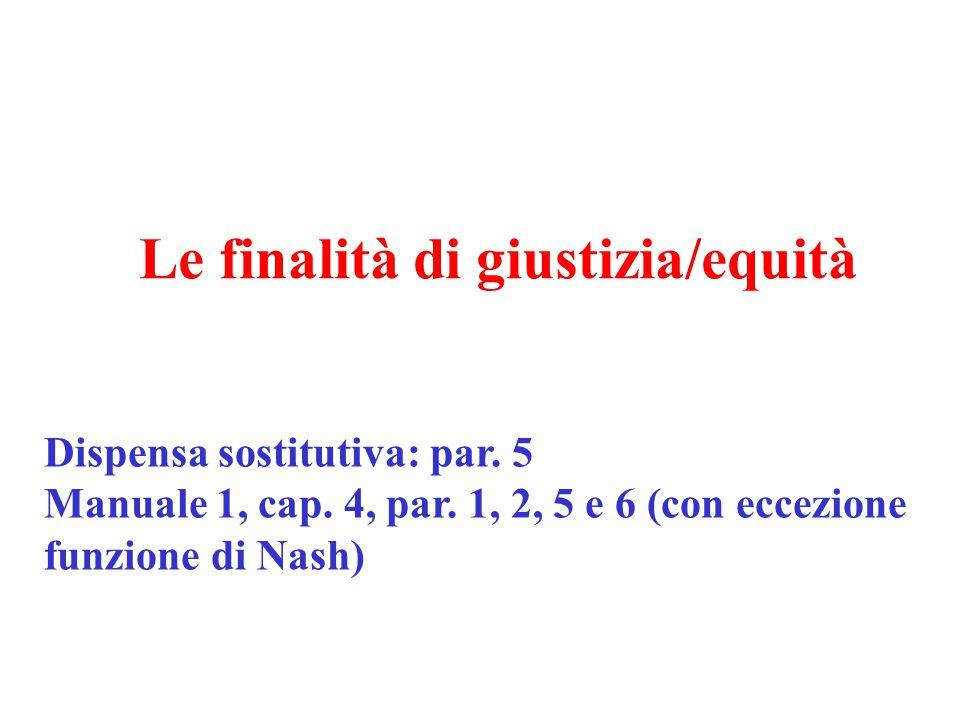 Le finalità di giustizia/equità Dispensa sostitutiva: par. 5 Manuale 1, cap. 4, par. 1, 2, 5 e 6 (con eccezione funzione di Nash)