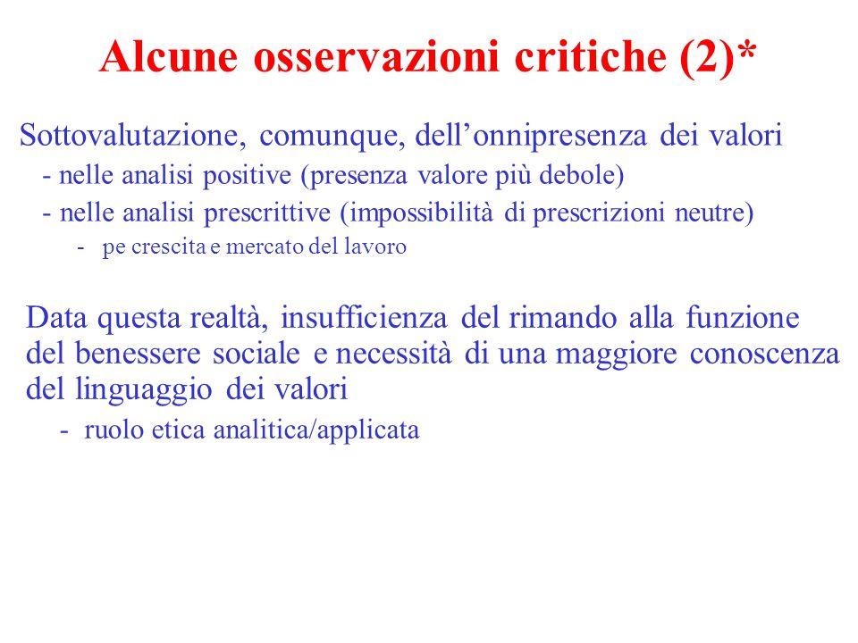 Alcune osservazioni critiche (2)* Sottovalutazione, comunque, dell'onnipresenza dei valori - nelle analisi positive (presenza valore più debole) -nell