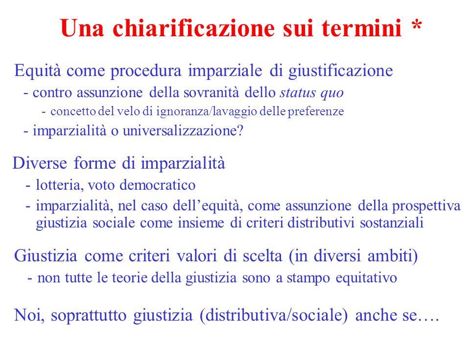 Una chiarificazione sui termini * Equità come procedura imparziale di giustificazione -contro assunzione della sovranità dello status quo -concetto de