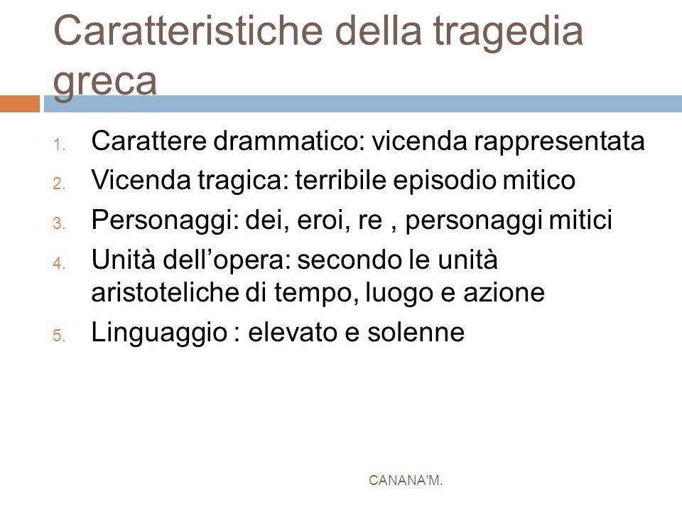 Caratteristiche della tragedia greca 1. Carattere drammatico: vicenda rappresentata 2. Vicenda tragica: terribile episodio mitico 3. Personaggi: dei,